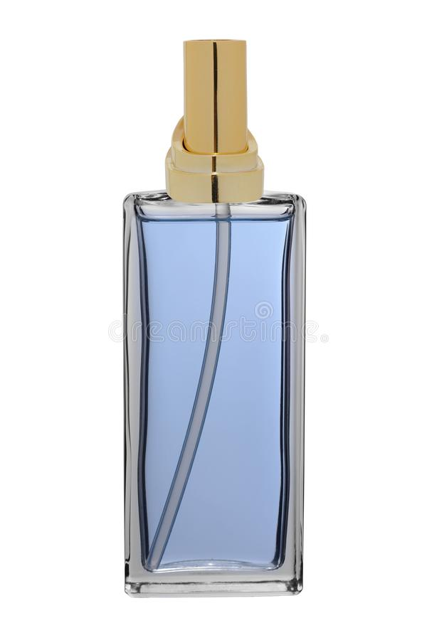 Flaska med andar eller eau-de-cologne som isoleras på en vit bakgrund royaltyfri foto
