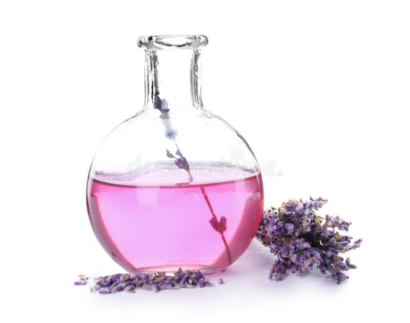 Flaska med aromatisk lavendelolja arkivbilder