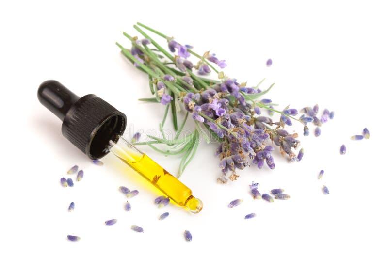 Flaska med aromolja- och lavendelblommor som isoleras på vit bakgrund royaltyfria foton