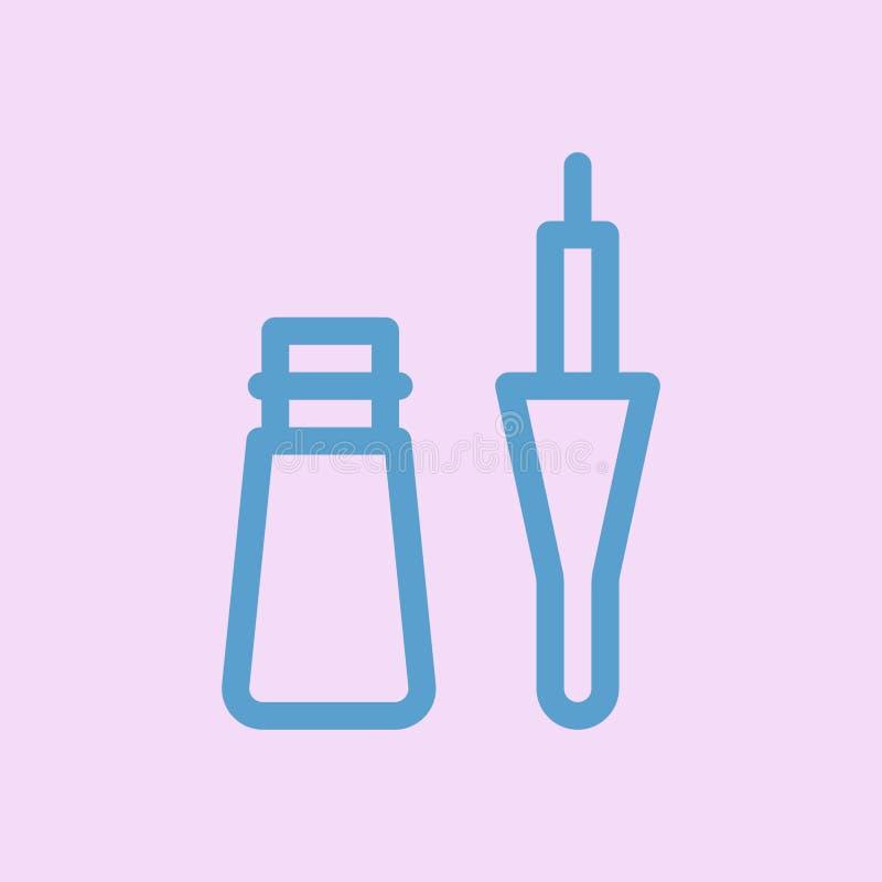Flaska med den v?tskeeyeliner och borsten stock illustrationer