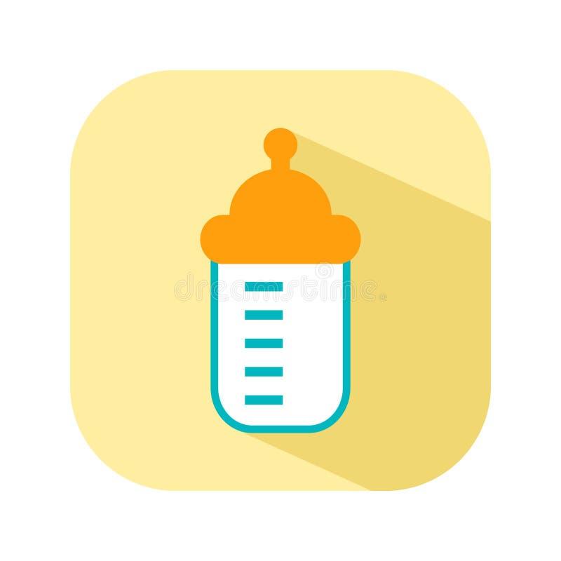 Flaska med en nippel för matning Den plana färgsymbolssaker för det nyfött behandla som ett barn också vektor för coreldrawillust vektor illustrationer
