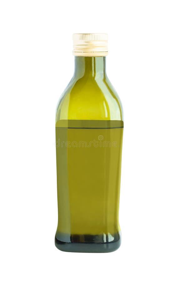 Flaska med olja som isoleras på vit bakgrund arkivbilder