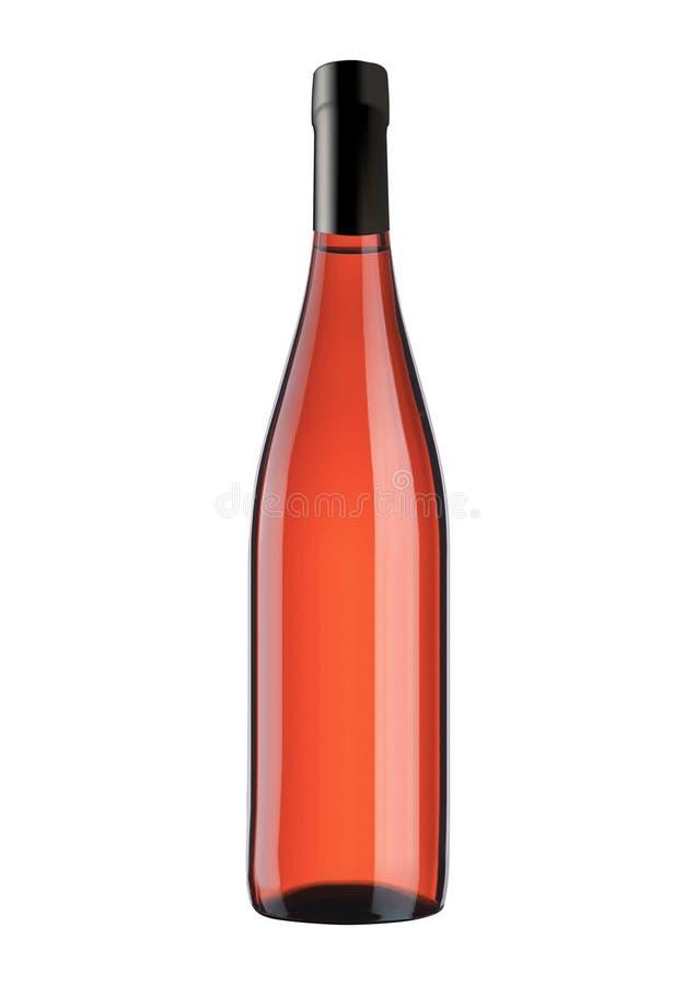 Flaska med rosa vin som isoleras på vit royaltyfri bild