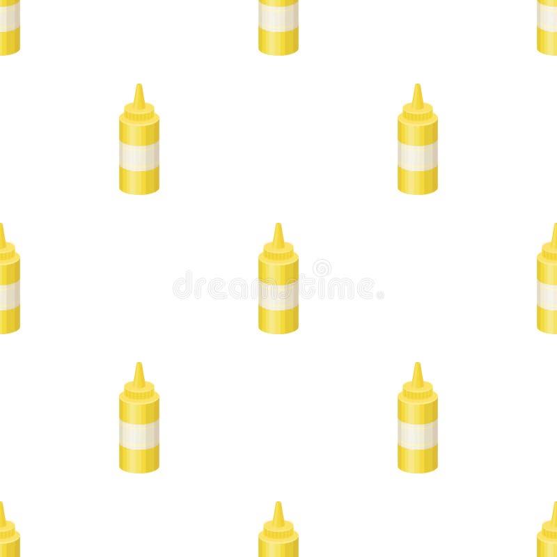 Flaska med senap Lagerför den enkla symbolen för hamburgare och för ingredienser i symbol för tecknad filmstilvektor illustration stock illustrationer