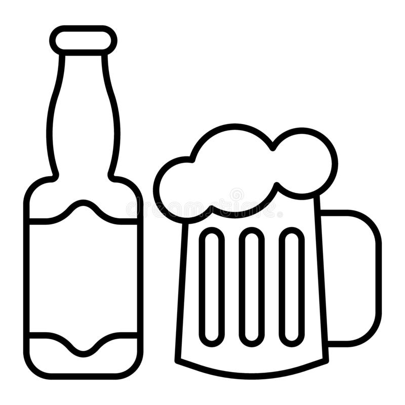 Flaska och exponeringsglas av den tunna linjen symbol för öl Tillverka ölflaskan med rånar vektorillustrationen som isoleras på v vektor illustrationer