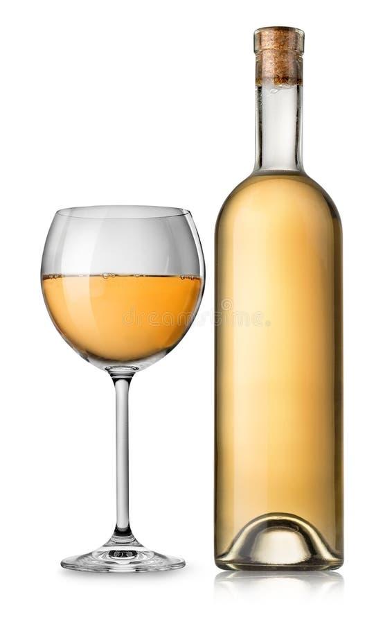 Flaska och exponeringsglas av vitt vin arkivbild