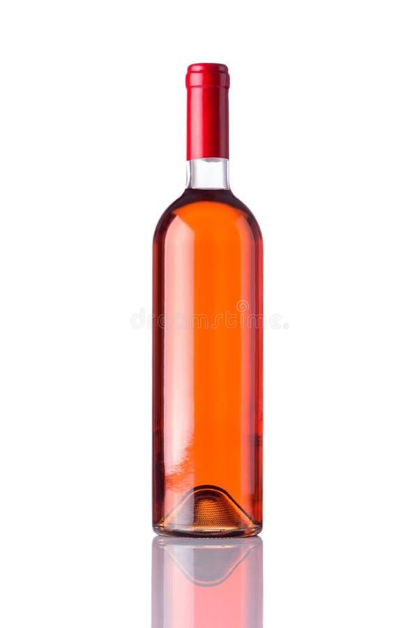 Flaska Rose Wine på vit bakgrund arkivfoto