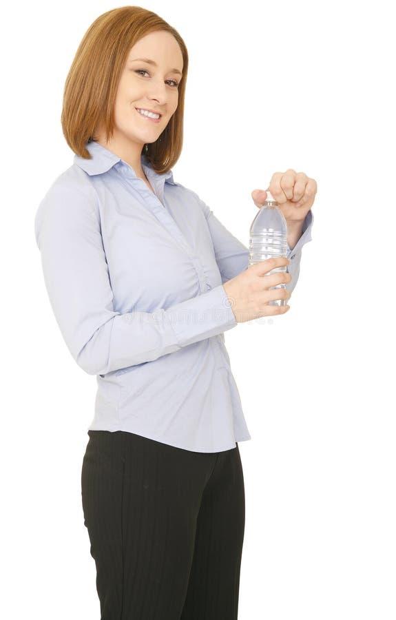 flaska som rymmer den nätt vattenkvinnan royaltyfria foton