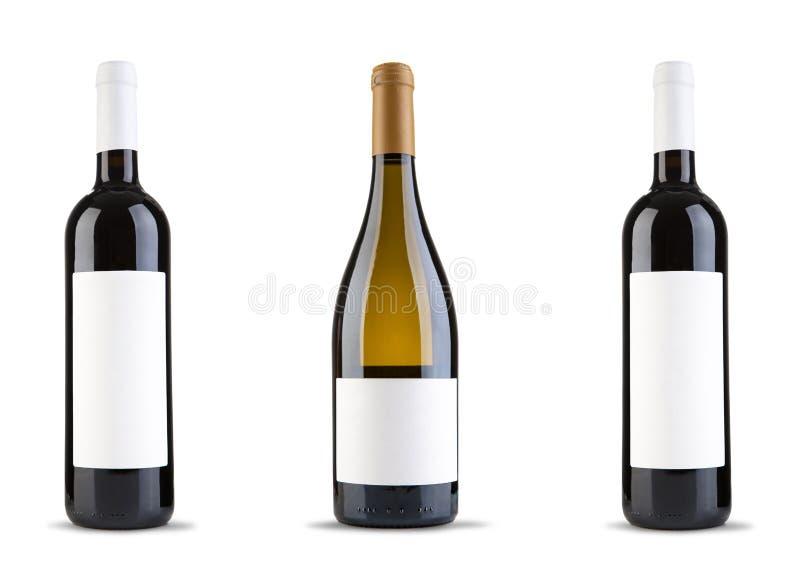 Flaska tre av vin royaltyfria foton