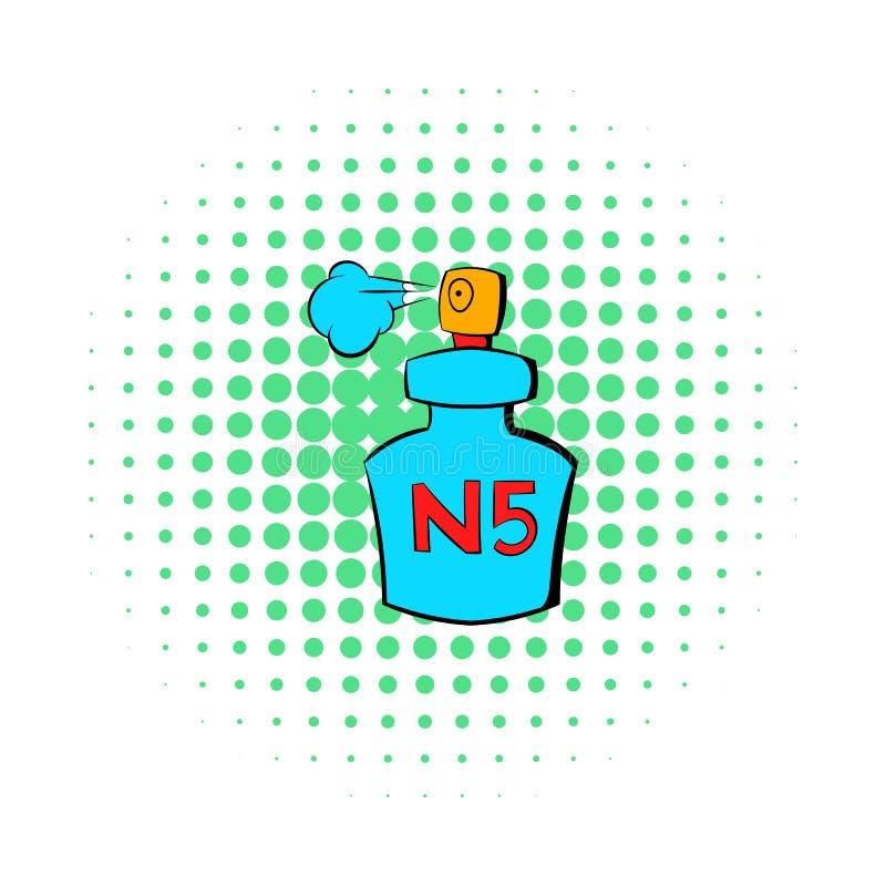 Flaskan av den Chanel No 5 doftsymbolen, komiker utformar stock illustrationer