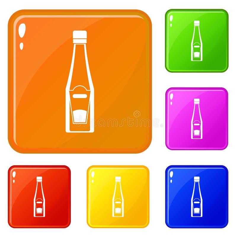 Flaskan av ketchupsymboler ställde in vektorfärg stock illustrationer