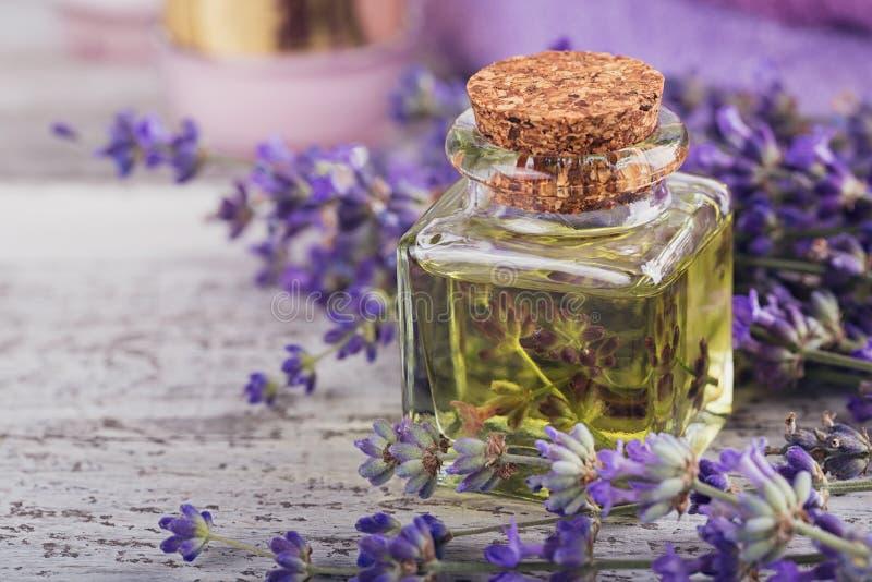 Flaskan av nödvändig olja och ny lavendel blommar royaltyfri foto