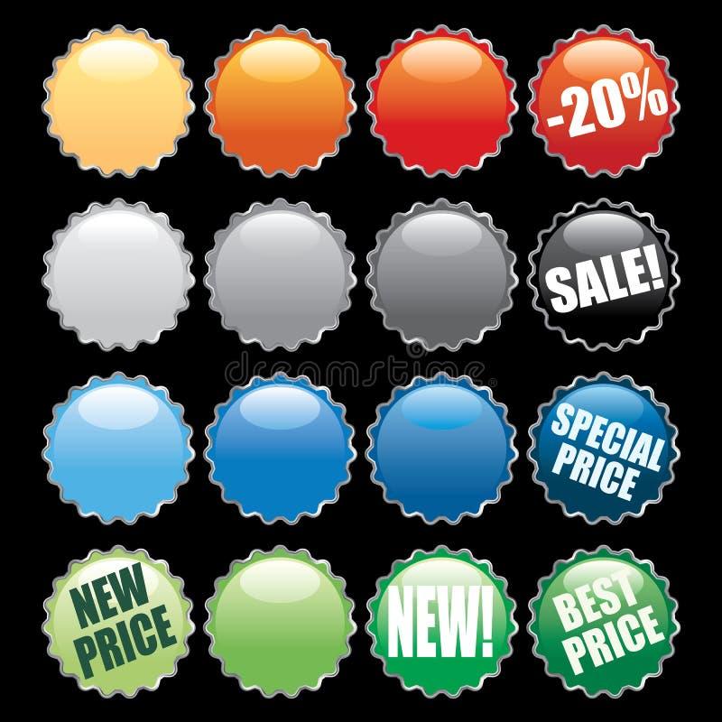 flaskan buttons locket royaltyfri illustrationer