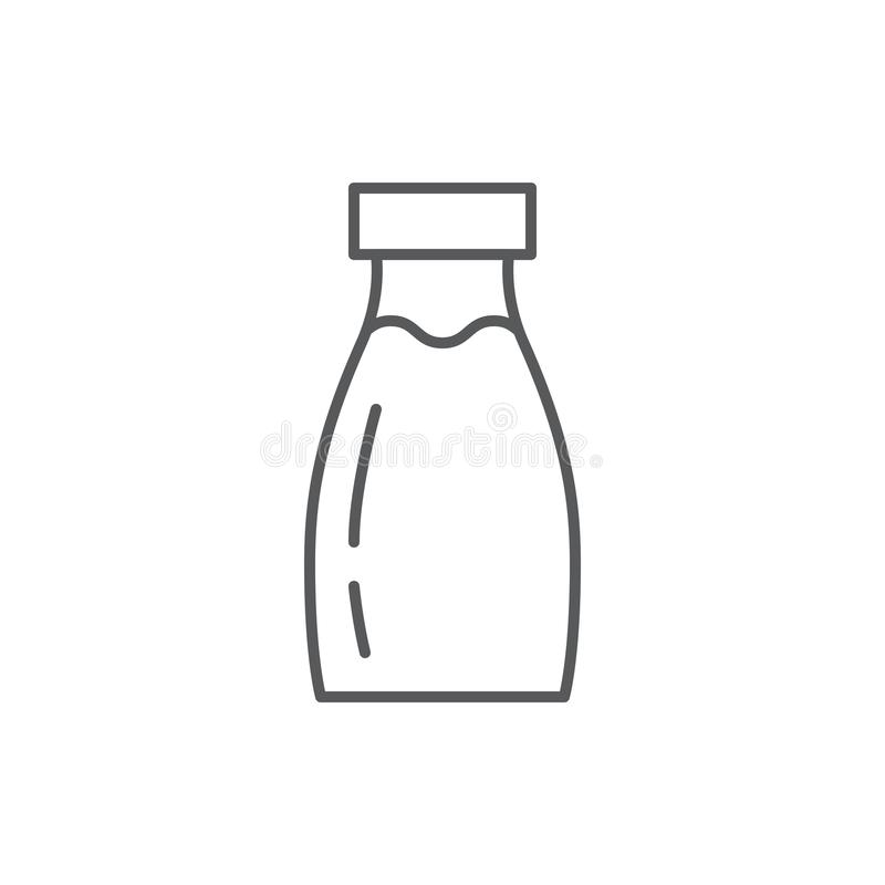 Flaskan med mjölkar den redigerbara översiktssymbolen - perfekt symbol för PIXEL av den sunda ätadrinken stock illustrationer