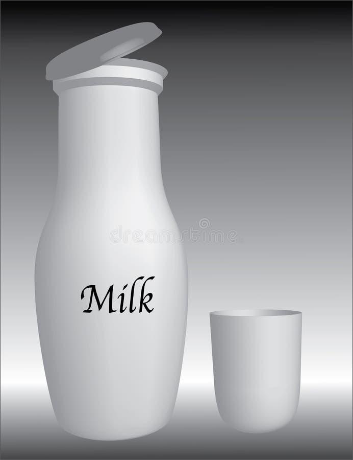 flaskan mjölkar royaltyfri illustrationer