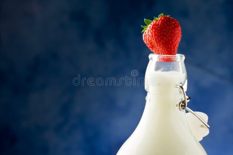 Download Flaskan mjölkar jordgubben arkivfoto. Bild av skog, kallt - 19797098