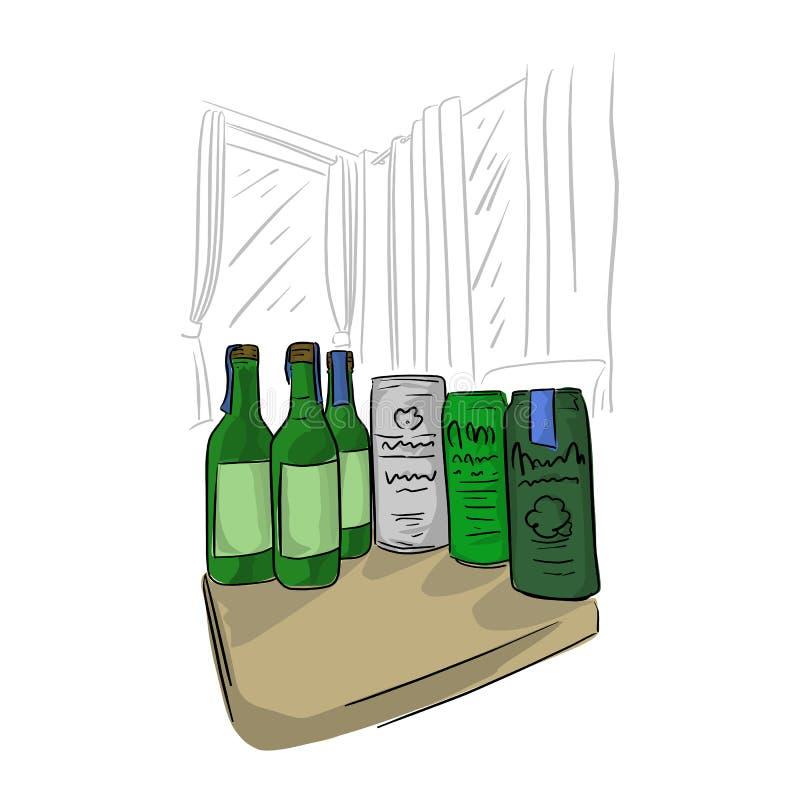 Flaskan och kan av öl på tabellen i rumvektorillustrationen skissar klotterhanden som dras med svarta linjer som isoleras på vit vektor illustrationer