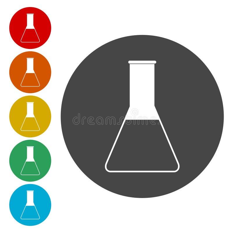 Flaskasymbol Knappar för cirkelbegreppsrengöringsduk royaltyfri illustrationer