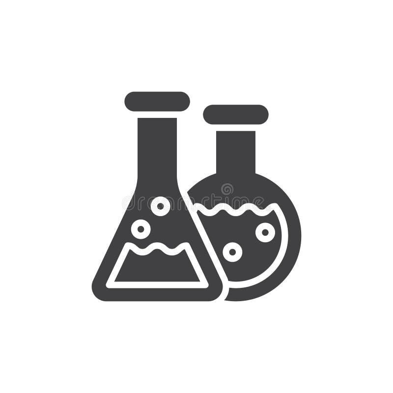 Flaskasymbolsvektor, fyllt plant tecken, fast pictogram som isoleras på vit stock illustrationer