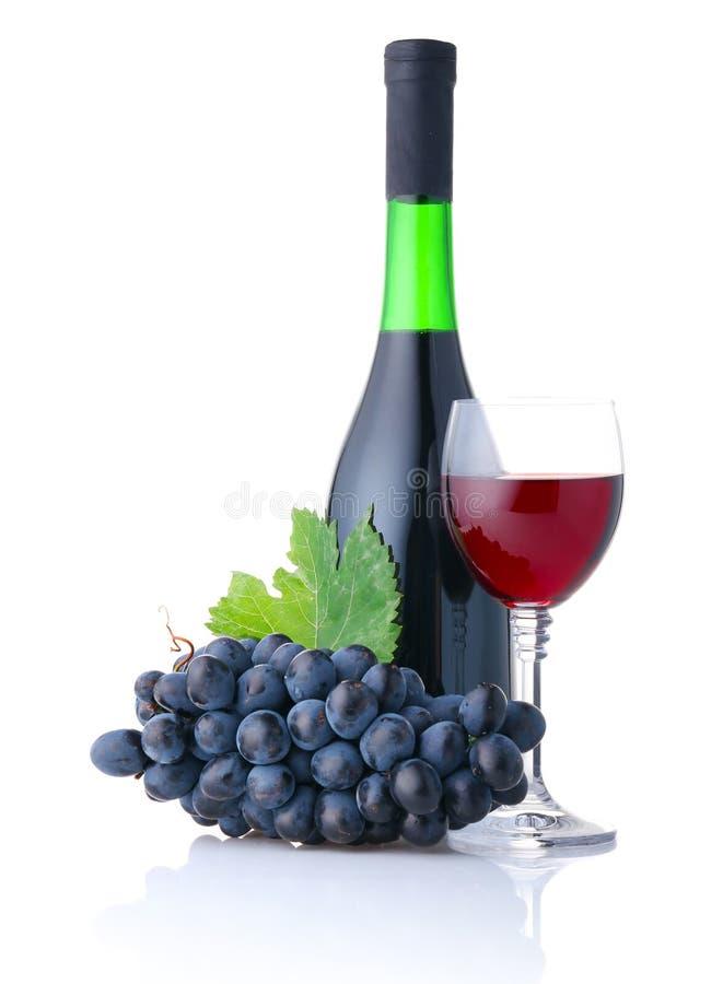 flaskbägaredruvor isolerade rött vin royaltyfria bilder