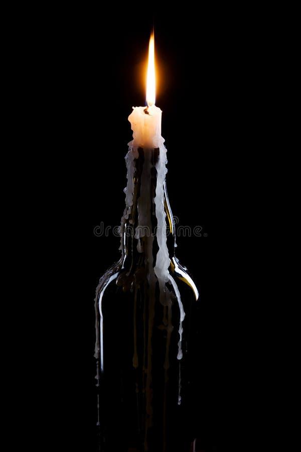 flaskbrännskadastearinljus royaltyfri fotografi