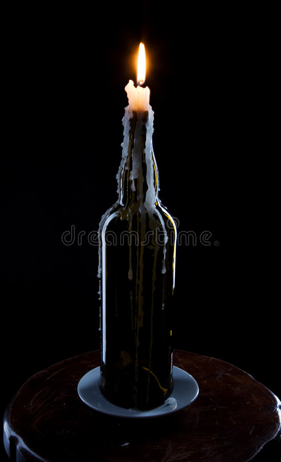 flaskbrännskadastearinljus royaltyfri bild