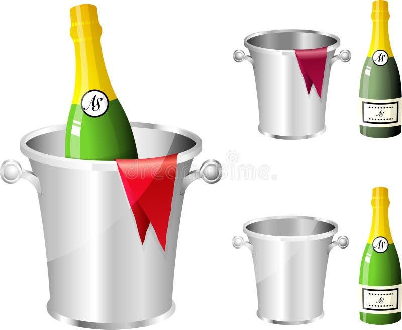 flaskchampagne stock illustrationer