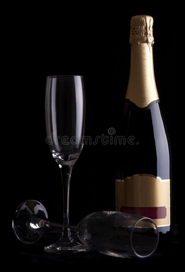 flaskchampagne royaltyfri foto