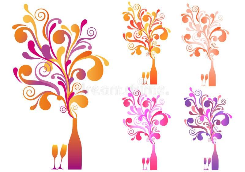 flaskchampagneexponeringsglas royaltyfri illustrationer