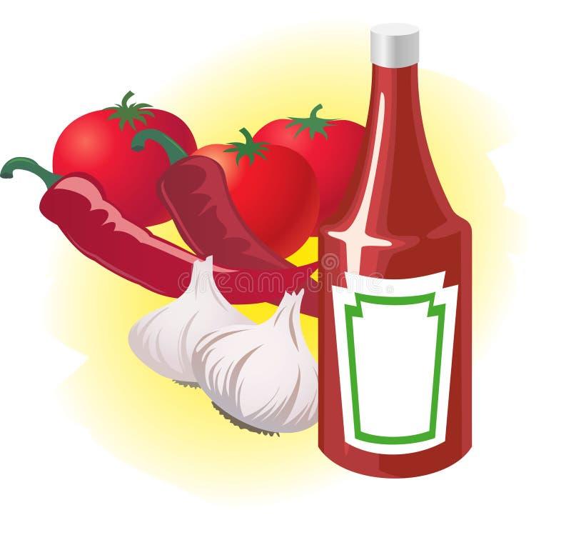 flaskketchupgrönsaker royaltyfri illustrationer