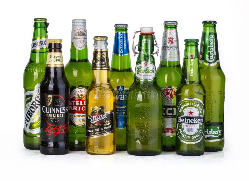 Flaskor av blandade kalla öl royaltyfria bilder