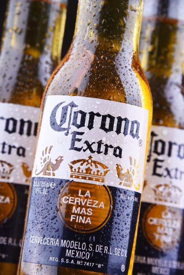 Flaskor av Corona Extra öl royaltyfria bilder