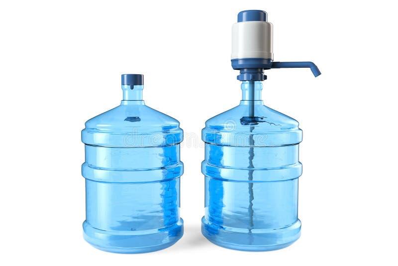 Flaskor av dricksvatten med en manuellt vattenpump och lock arkivfoton