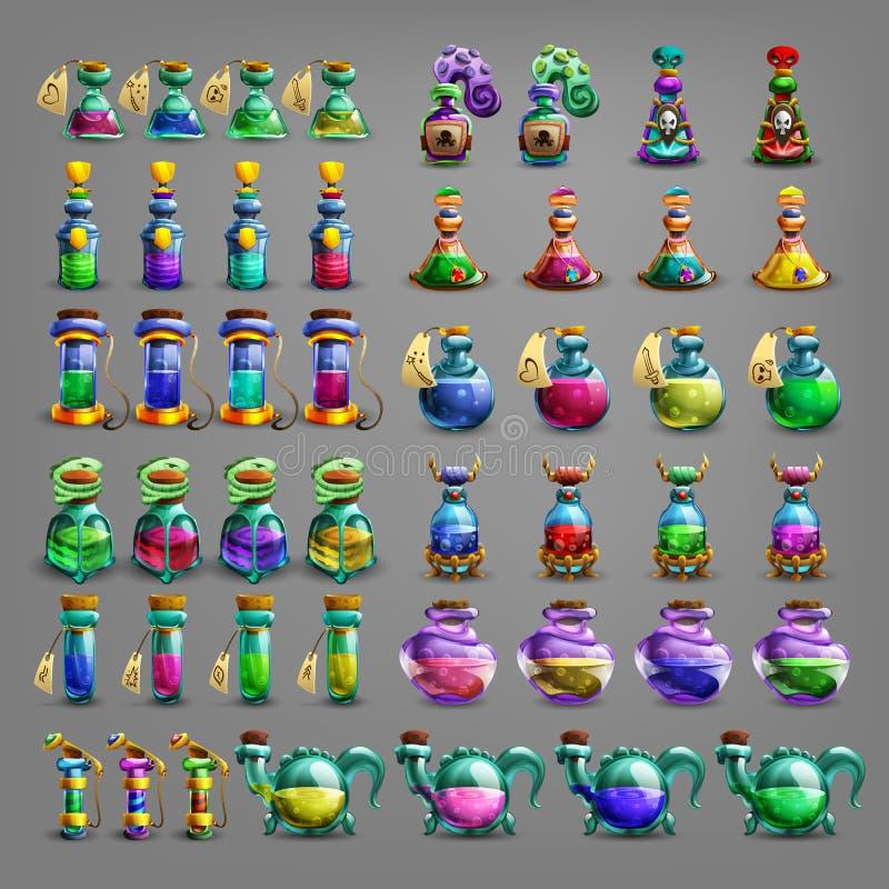 Flaskor av dryck royaltyfri illustrationer