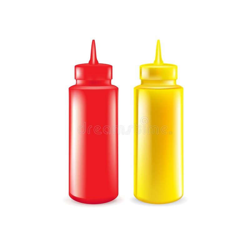 Flaskor av isolerade ketchup och senap royaltyfri illustrationer