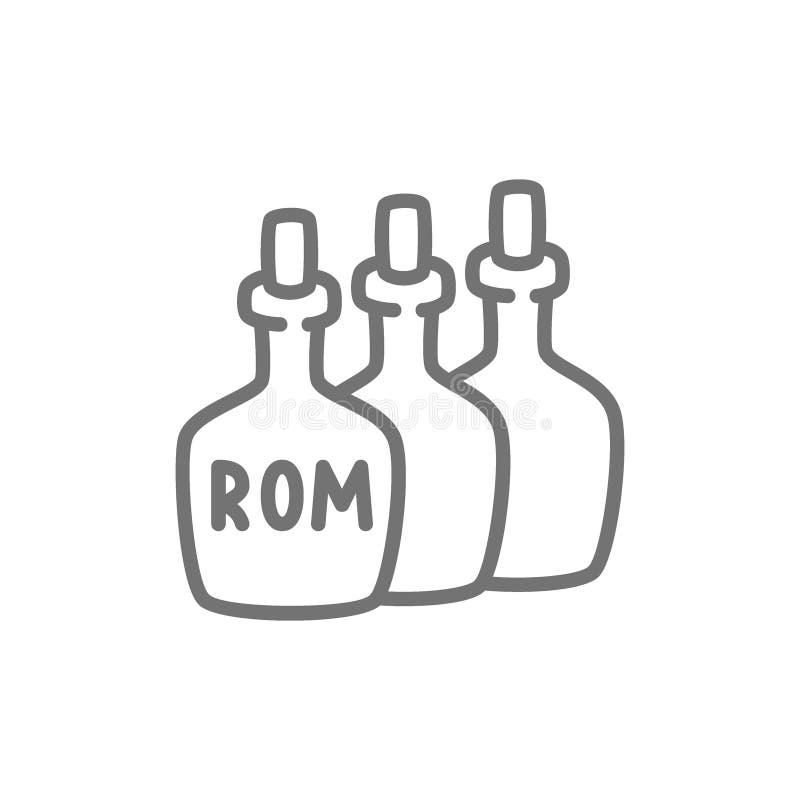 Flaskor av rom, alkohol, linje symbol för drinkbehållare stock illustrationer