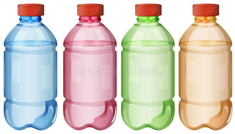 Flaskor av säkert dricksvatten stock illustrationer
