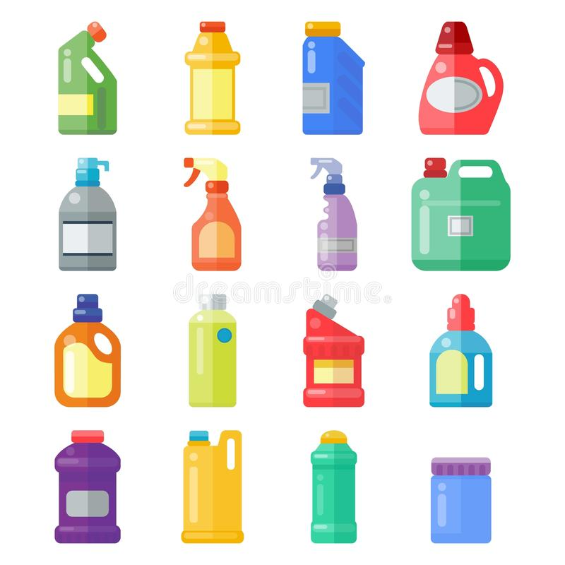 Flaskor av tillförsel för hushållkemikalieer som gör ren det plast- renande vätskeinhemska fluid rengöringsmedlet för hushållsarb stock illustrationer