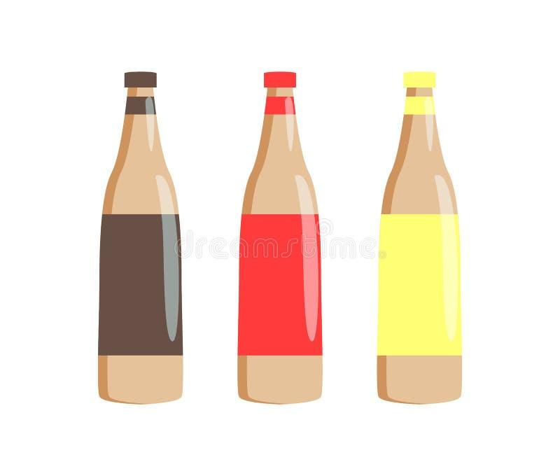 Flaskor av traditionella såser för varmkorvuppsättning vektor illustrationer