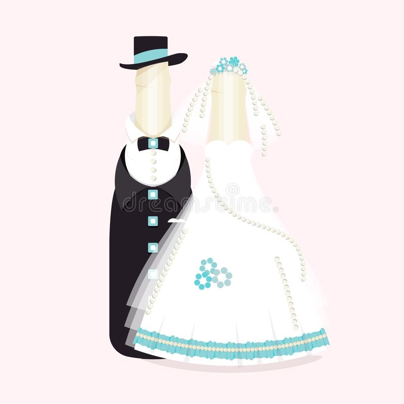 Flaskor av vin, champagne i dräkter av nygifta personer Elegant bröllopdesign Abstrakta brudgum- och brudsouvenir, kaka stock illustrationer