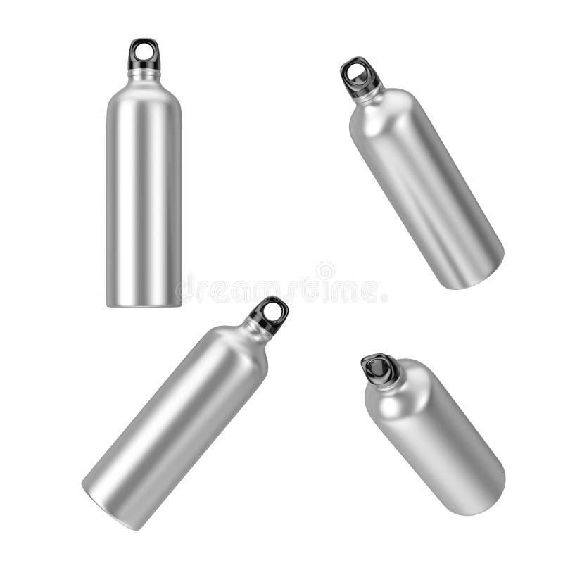 Flaskor för dricksvatten för aluminiumsportmetall i olik position framförande 3d stock illustrationer