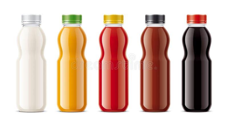 Flaskor för fruktsaft, mejeridrinkar och annan royaltyfri foto