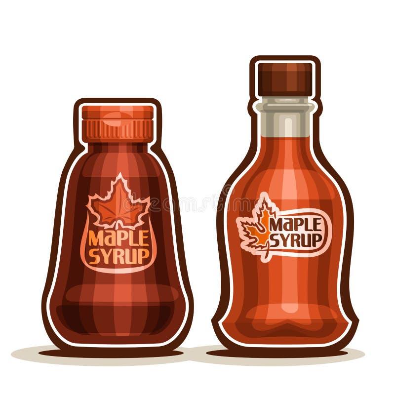 Flaskor för sirap för vektorlogolönn vektor illustrationer