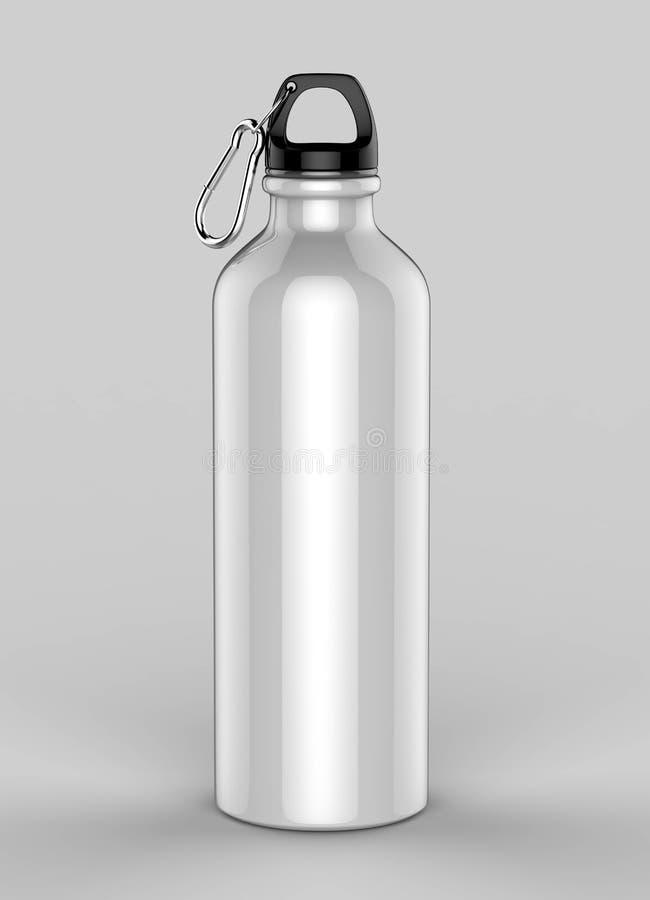 Flaskor för sportsippermetall för vatten som isoleras på grå bakgrund för åtlöje upp och malldesign Vitmellanrumsflaskan 3d framf stock illustrationer