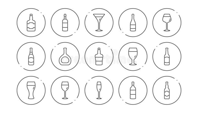 Flaskor fodrar symboler ?ldrinkar, vinexponeringsglas och whiskyflaska Linj?r symbolsupps?ttning vektor stock illustrationer
