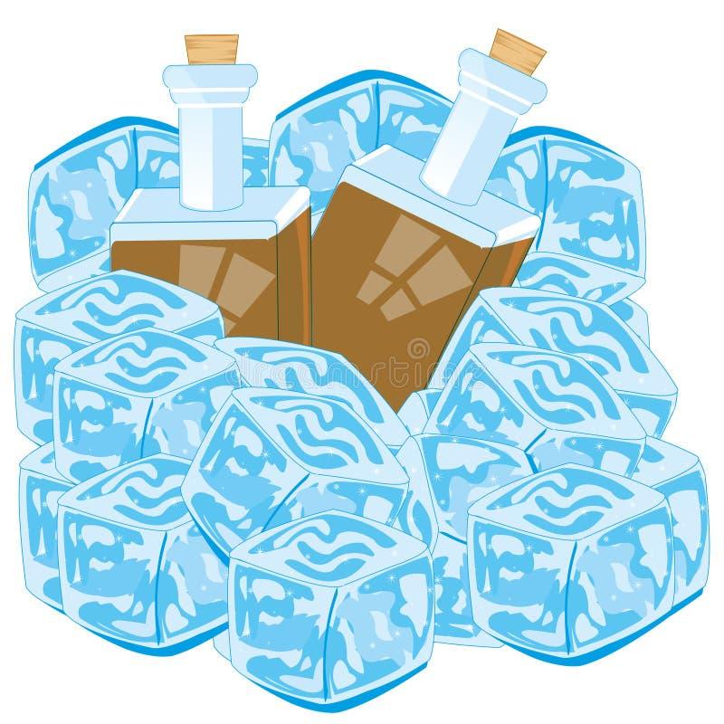 Flaskor med is för drinkräkningsbit på vit bakgrund stock illustrationer