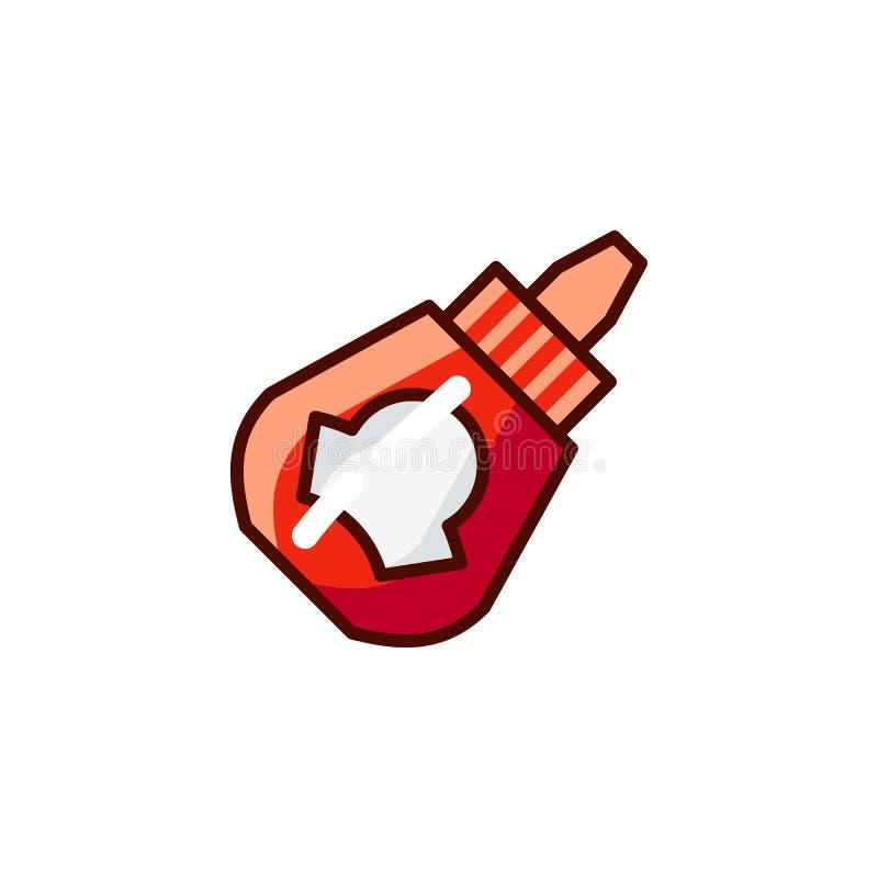 Flasksåssymbol Kryddor för att laga mat symbol Matingrediens i röret - ketchup, majonnäs, senapsgult emblem stock illustrationer