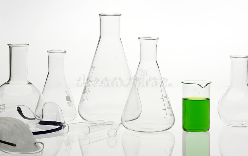 Flasks in the chemical laboratory royalty free stock images