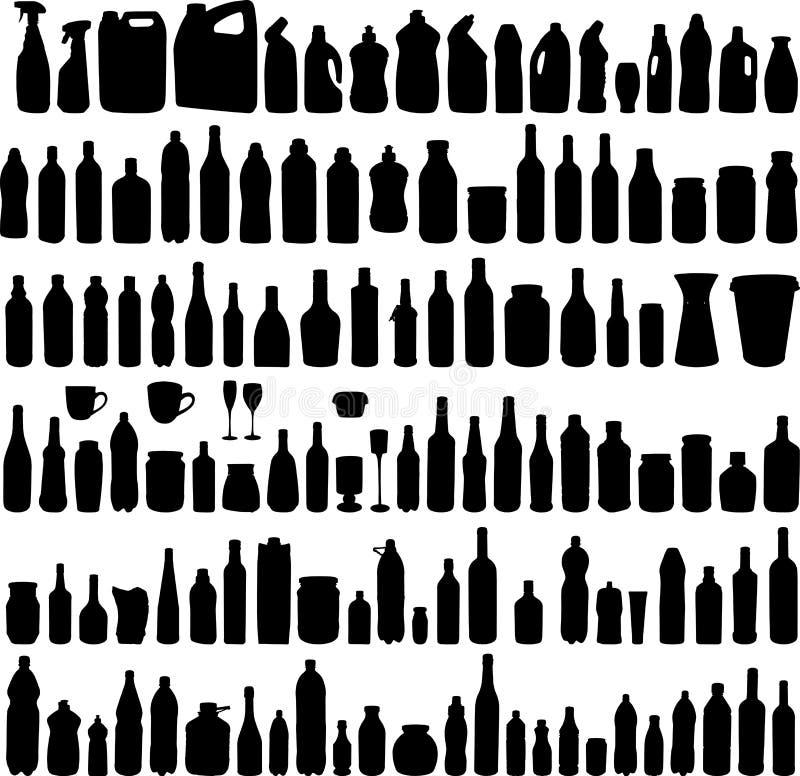 flasksamlingen silhouettes vektorn royaltyfri illustrationer