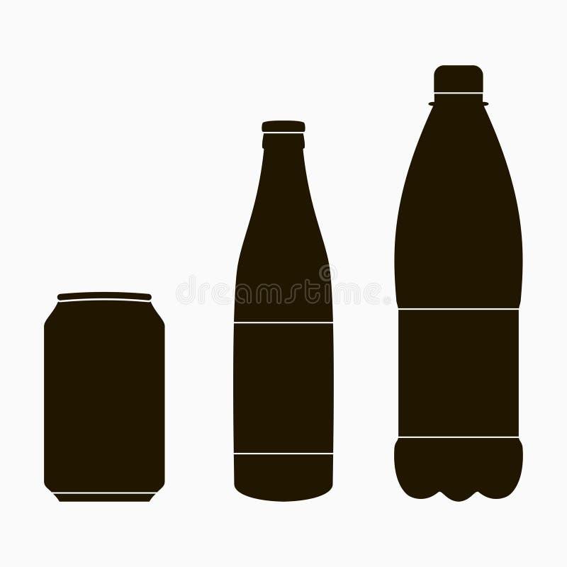 Flasksymboler ställde in - metallcanen, exponeringsglas och plast- vektor royaltyfri illustrationer